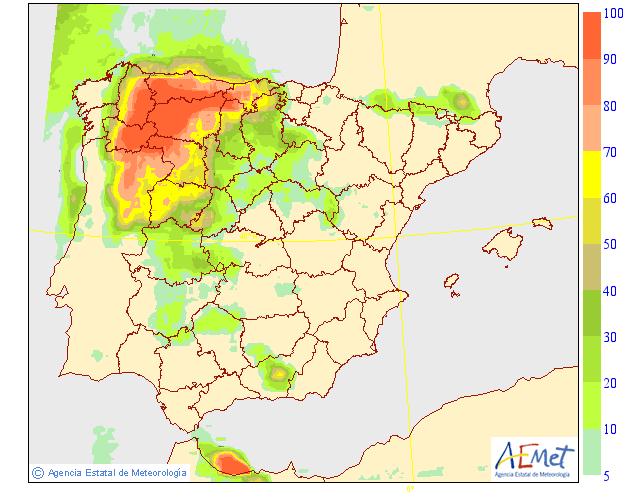 Probabilidad de precipitación según AEMET.23 Meteosojuela La Rioja