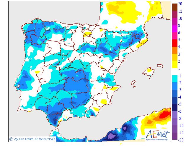 Variación de temperaturas máximas AEMET. 17