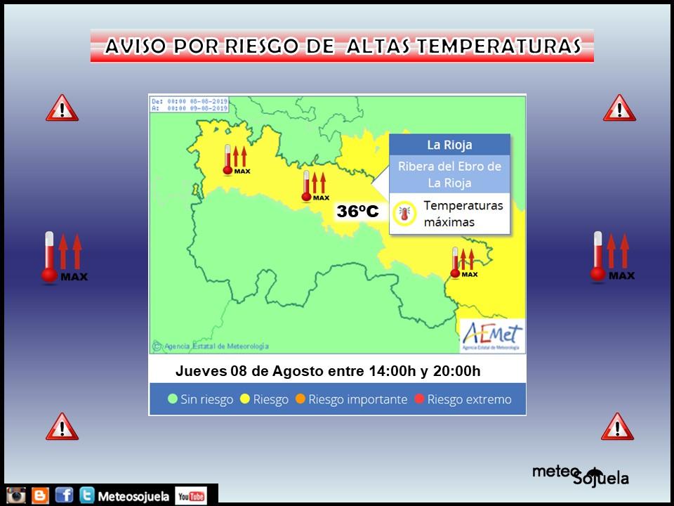 AVISO Amarillo por Altas Temperaturas AEMET. Meteosojuela