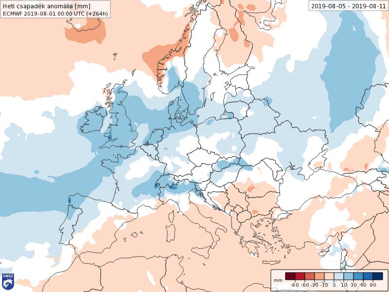 Anomalías Precipitación Agosto 1 semana ECMWF