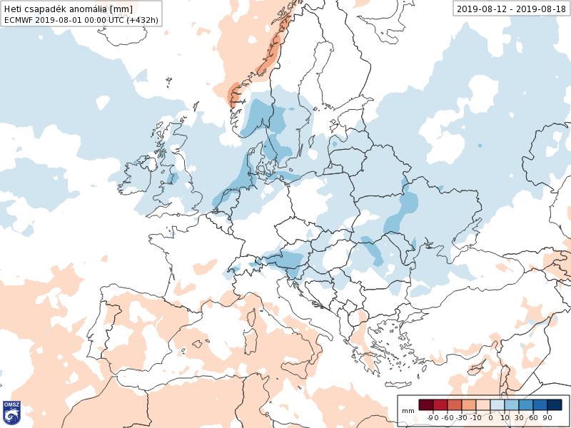 Anomalías Precipitación Agosto 2 semana ECMWF