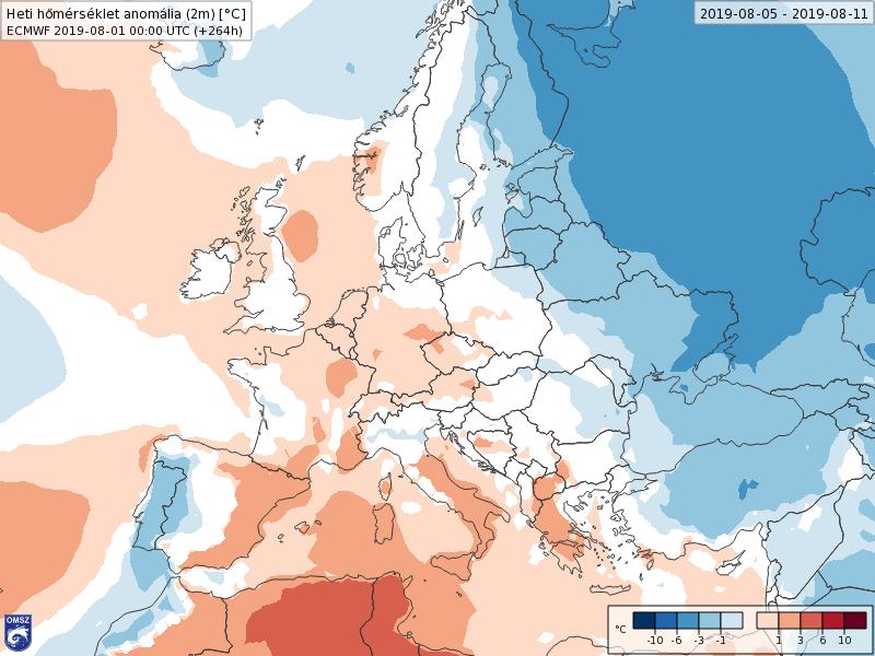 Anomalías Temperaturas Agosto 1 semana ECMWF