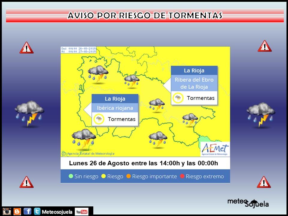 Aviso AMARILLLO por TORMENTAS . AEMET. Meteosojuela