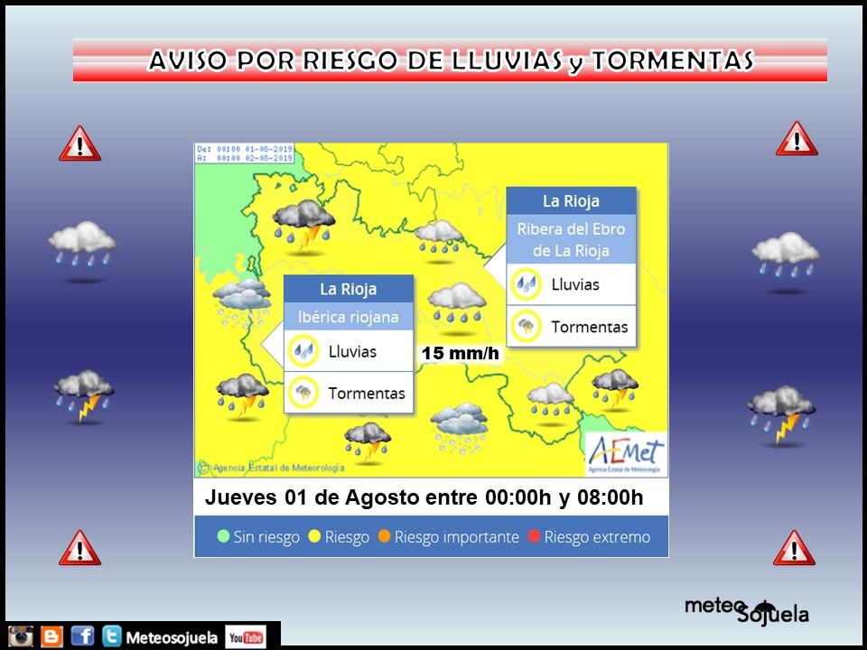 Aviso Amarillo Tormentas y LLuvias AEMET. Meteosojuela