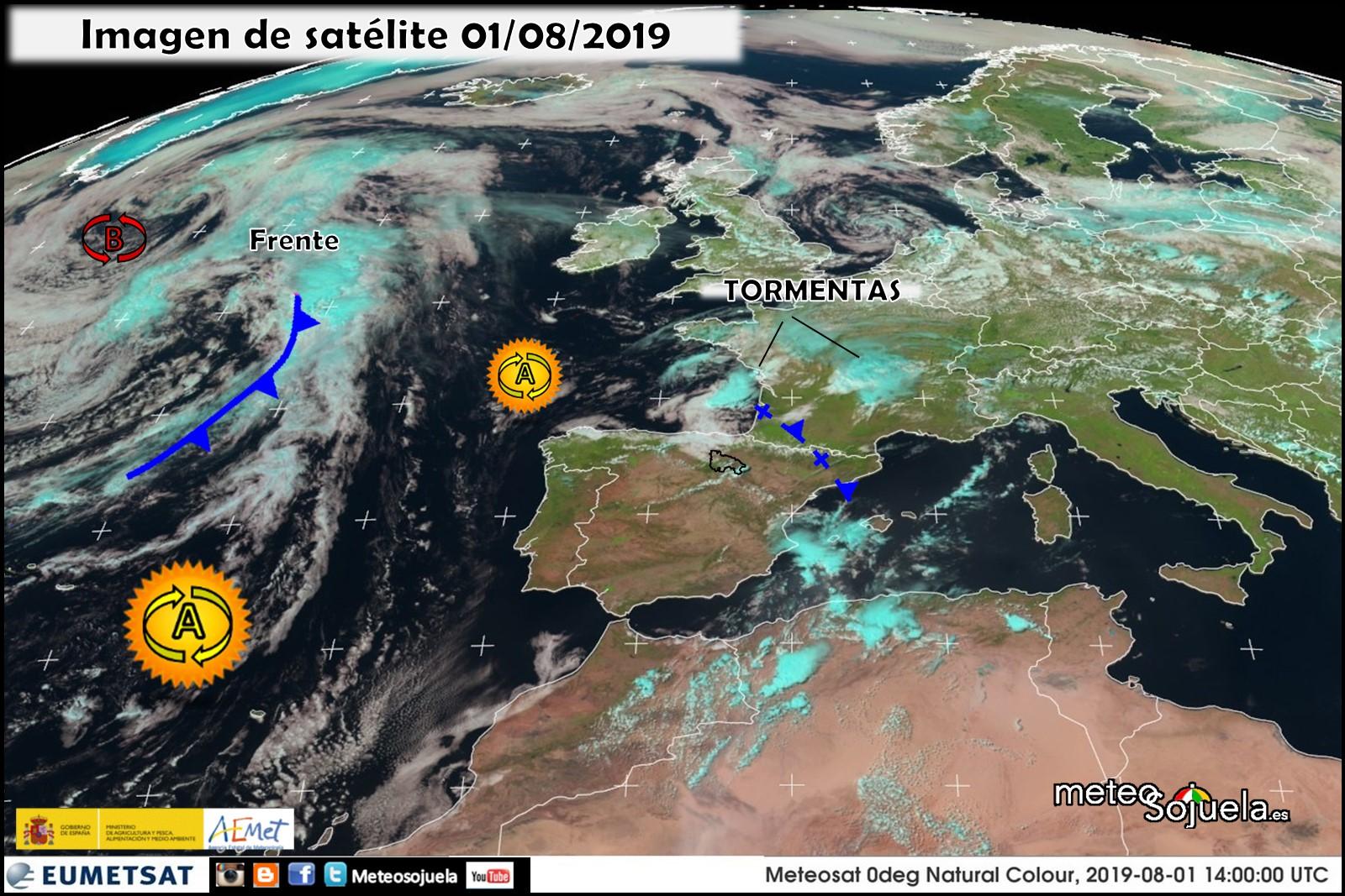 Imágen de satélite Eumetsat. Meteosojuela.es