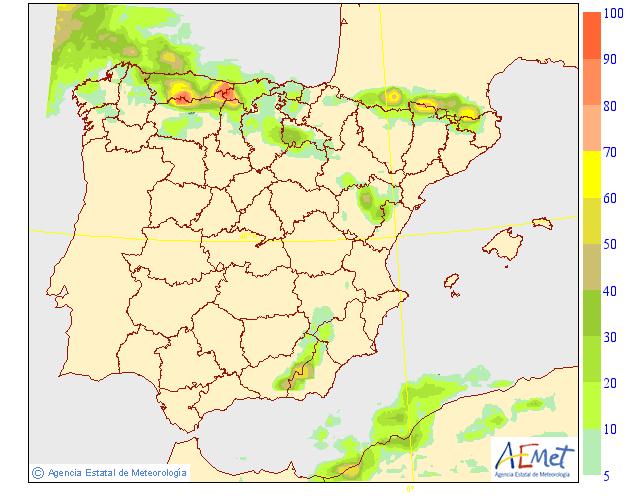 Probabilidad de precipitación según AEMET. 03 Meteosojuela La Rioja