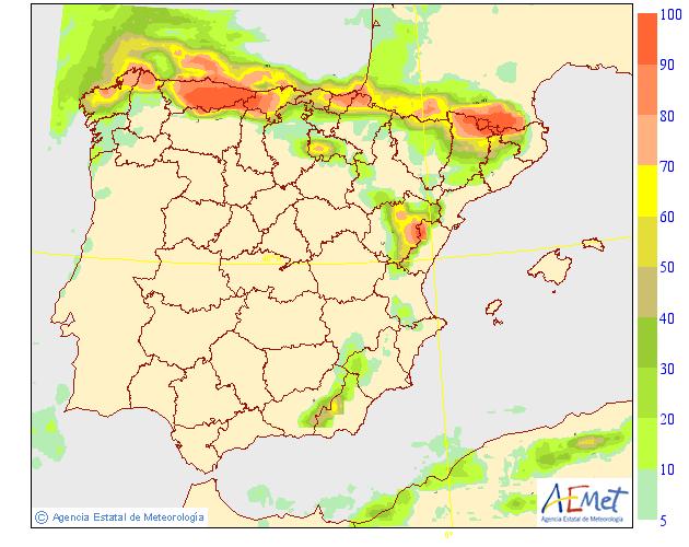 Probabilidad de precipitación según AEMET. 04 Meteosojuela La Rioja