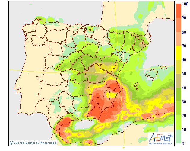 Probabilidad de precipitación según AEMET.21 Meteosojuela La Rioja