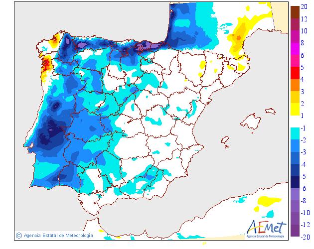 Variación de temperaturas máximas AEMET 25 . Meteosojuela