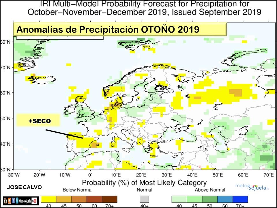 Anomalías Precipitación Otoño 2019. IRI Meteosojuela