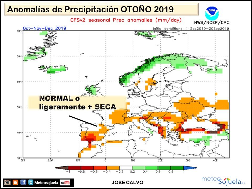 Anomalías Precipitación Otoño 2019. Meteosojuela