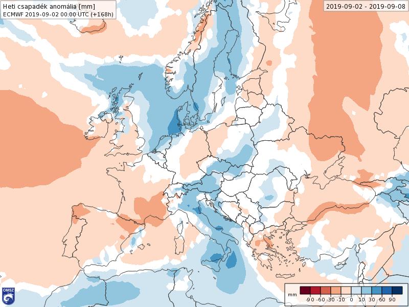 Anomalías Precipitación Septiembre 1 semana ECMWF