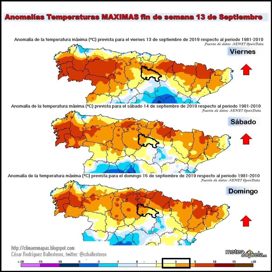 Anomalías Temperaturas Máximas. Cesar. Meteosojuela.