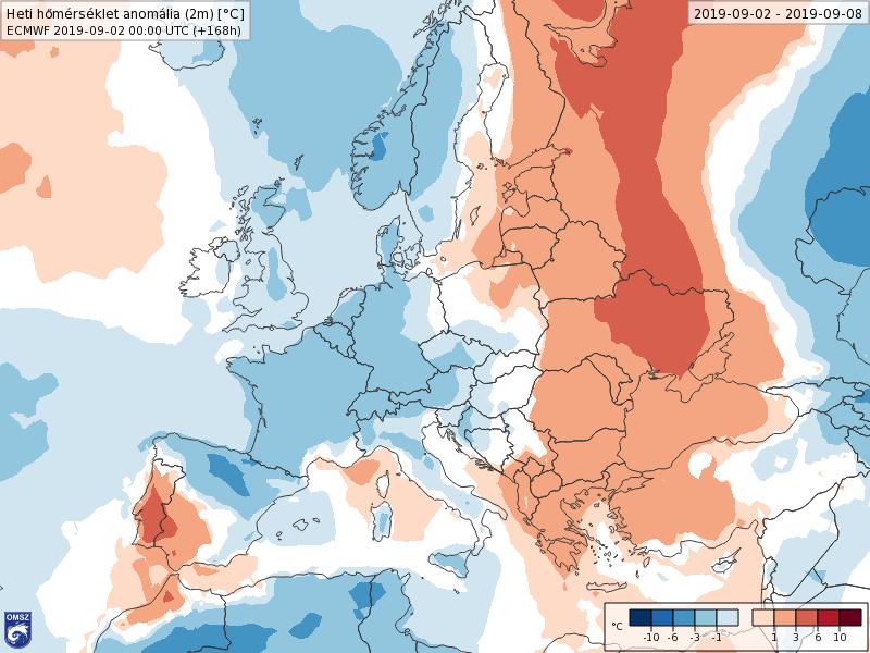 Anomalías Temperaturas Septiembre 1 semana ECMWF