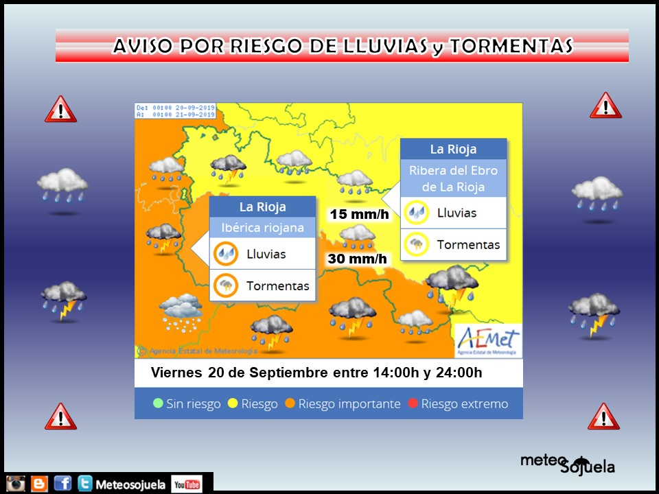 Avisos por LLuvias y Tormentas Ibérica AEMET.Meteosojuela