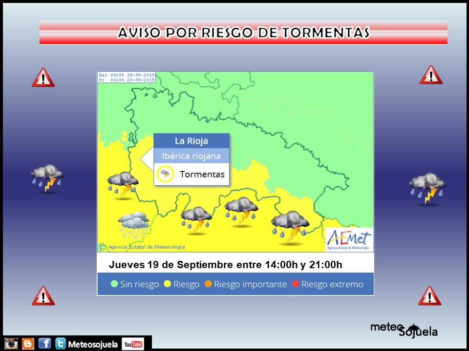 Avisos por Tormentas Ibérica AEMET.Meteosojuela