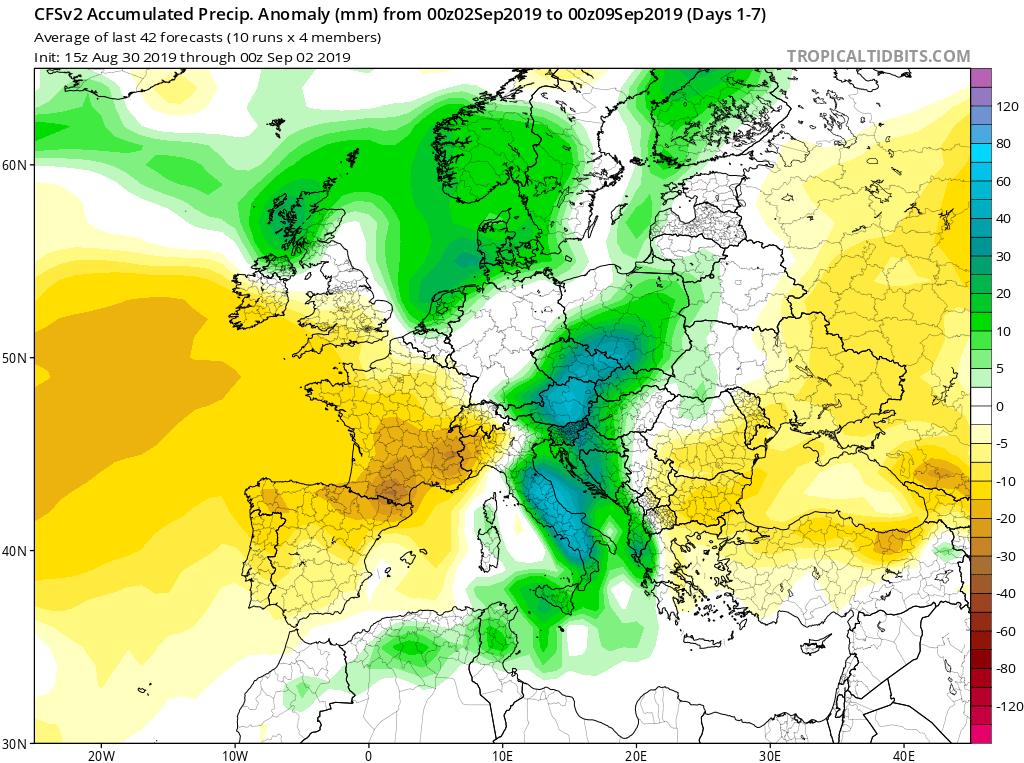 Modelos de precipitaciones semanales Septiembre GFS 1S Jose Calvo. Meteosojuela La Rioja.