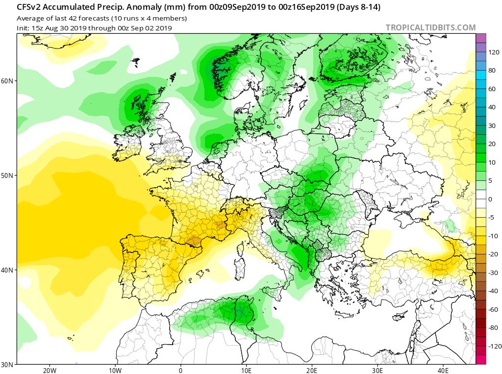 Modelos de precipitaciones semanales Septiembre GFS 2S Jose Calvo. Meteosojuela La Rioja.