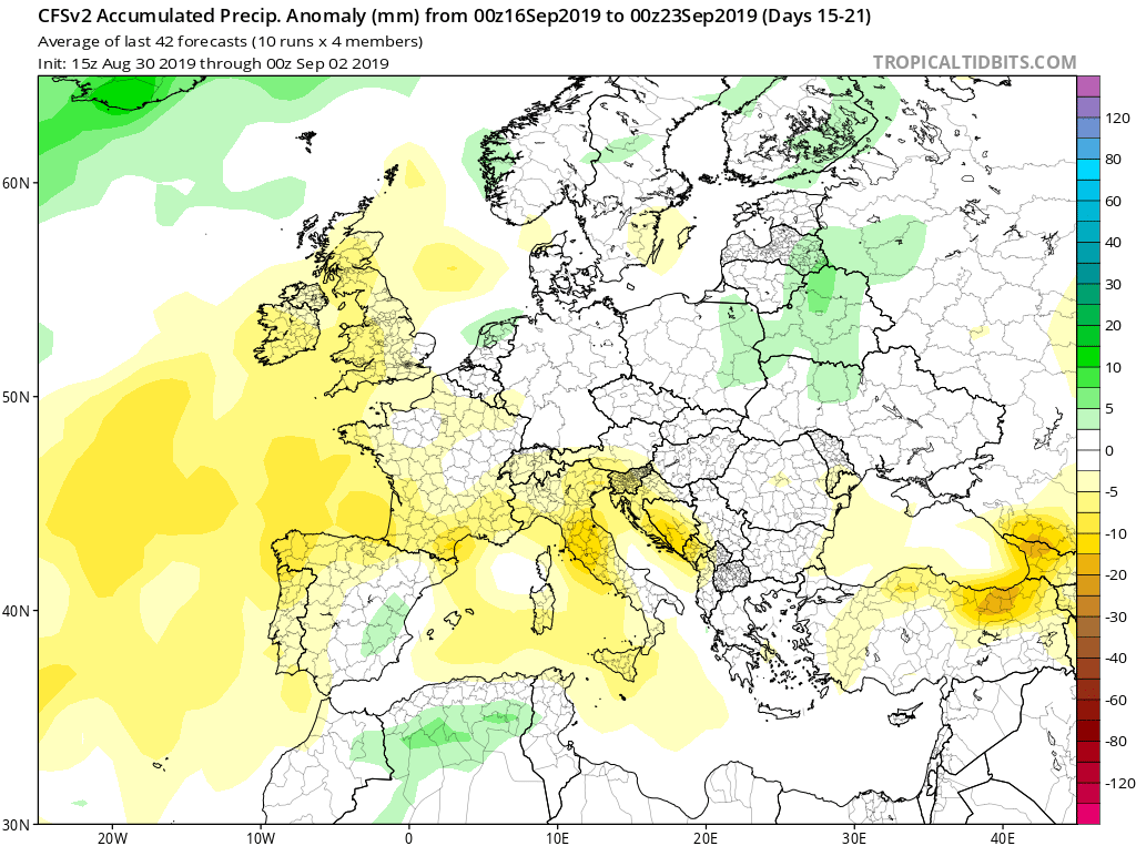 Modelos de precipitaciones semanales Septiembre GFS 3S Jose Calvo. Meteosojuela La Rioja.