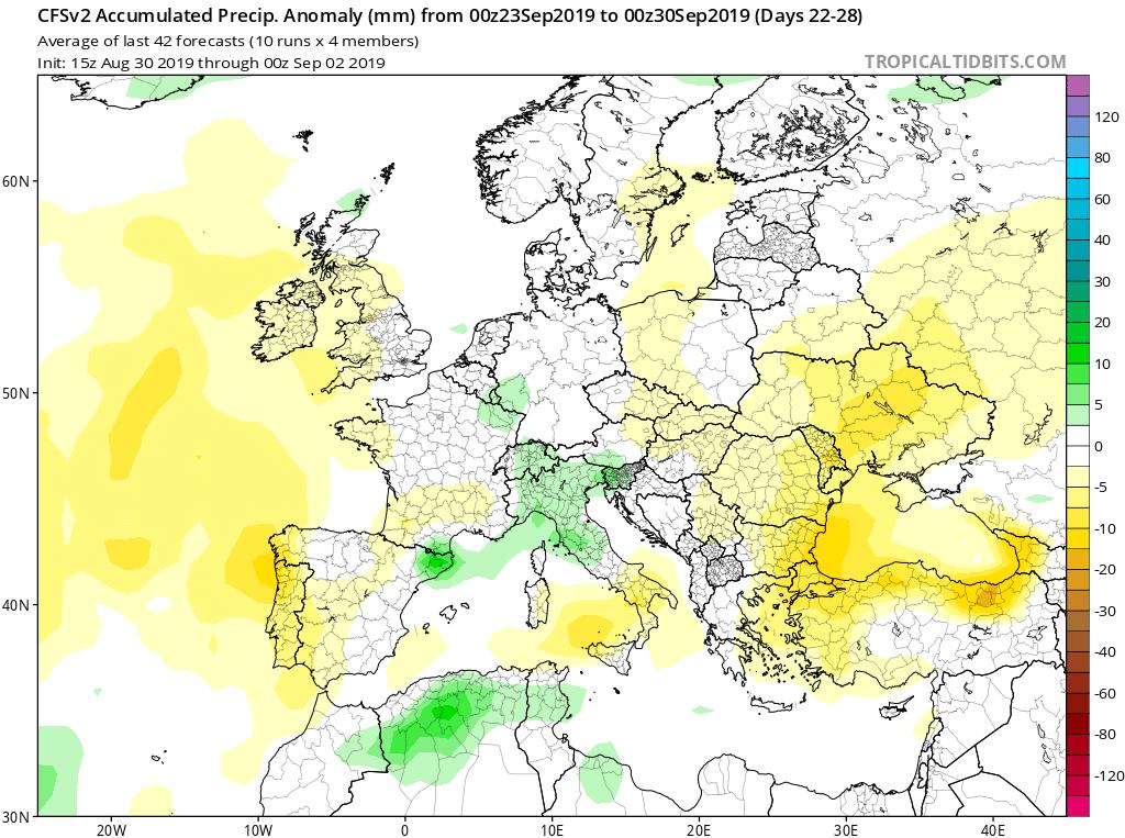 Modelos de precipitaciones semanales Septiembre GFS 4S Jose Calvo. Meteosojuela La Rioja.