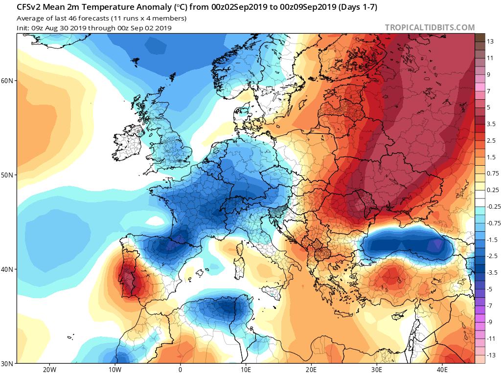 Modelos de temperaturas semanales Septiembre GFS 1S Jose Calvo. Meteosojuela La Rioja.
