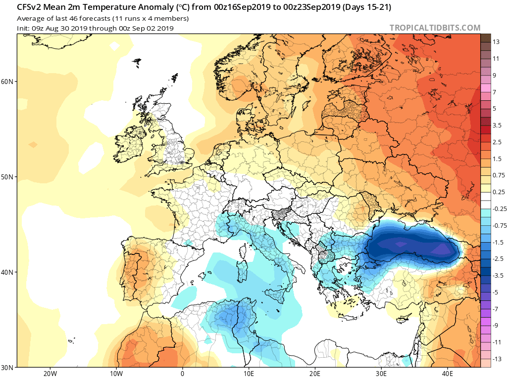 Modelos de temperaturas semanales Septiembre GFS 3S Jose Calvo. Meteosojuela La Rioja.