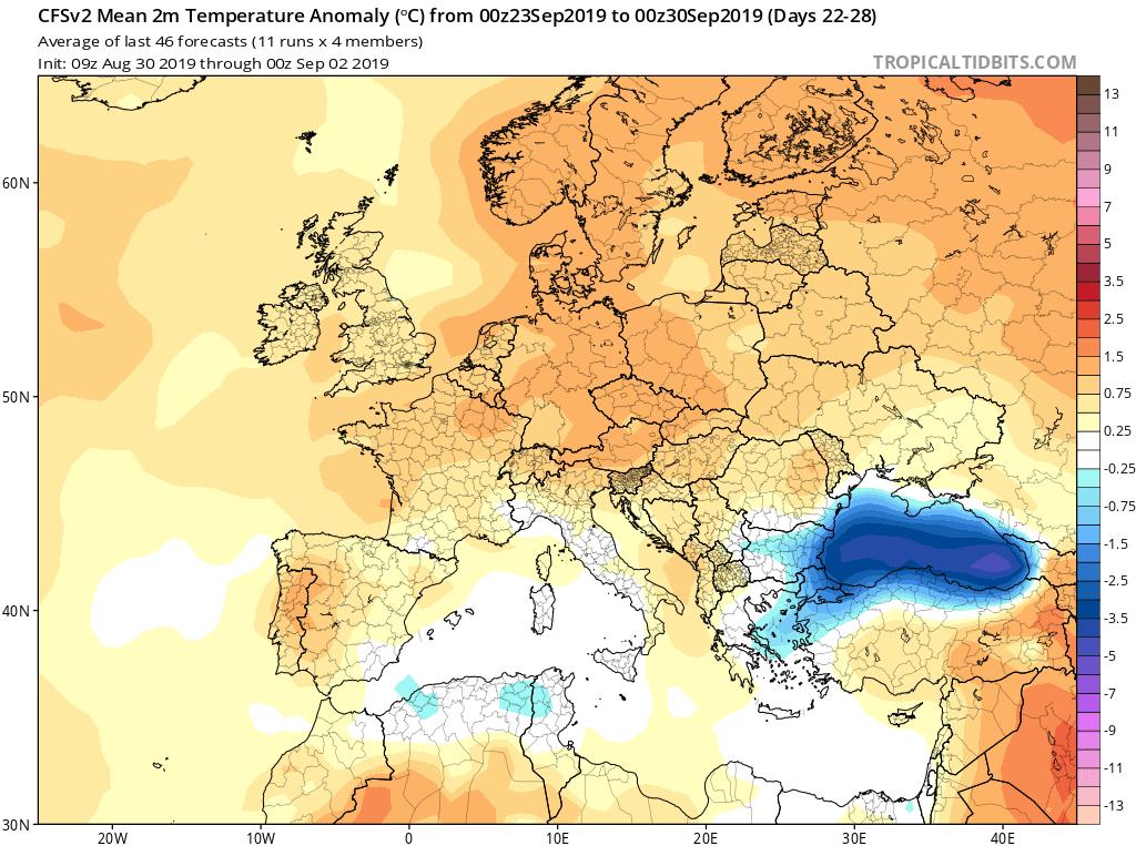 Modelos de temperaturas semanales Septiembre GFS 4S Jose Calvo. Meteosojuela La Rioja.