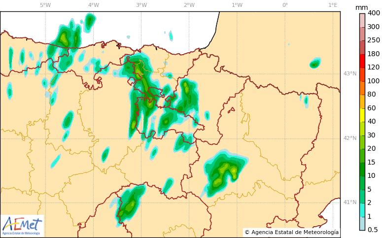 Precipitación Acumulada en 1 hora 20 00 Viernes 20. Meteosojuela
