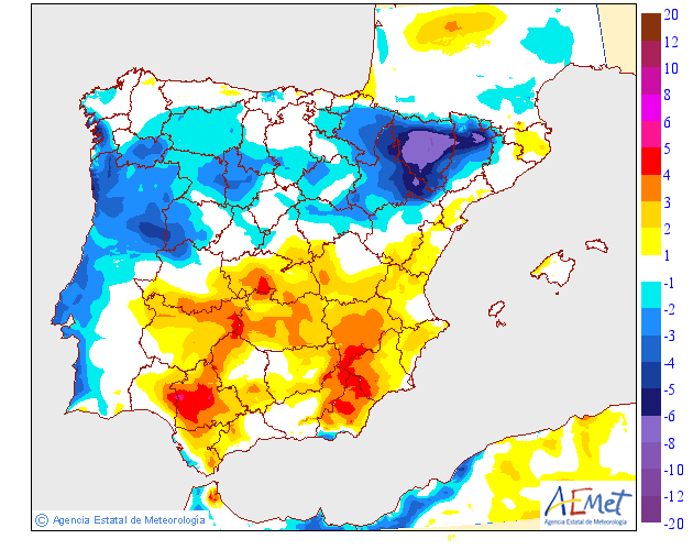 Variación de temperaturas máximas AEMET. 15 Meteosojuela