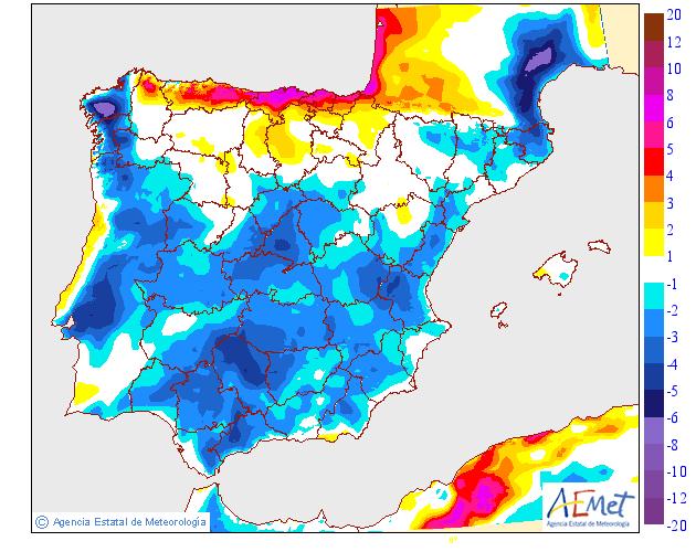 Variación de temperaturas máximas AEMET. 20 Meteosojuela