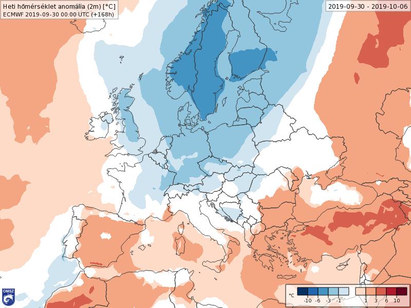 Anomalías Temperaturas Octubre 1 semana ECMWF