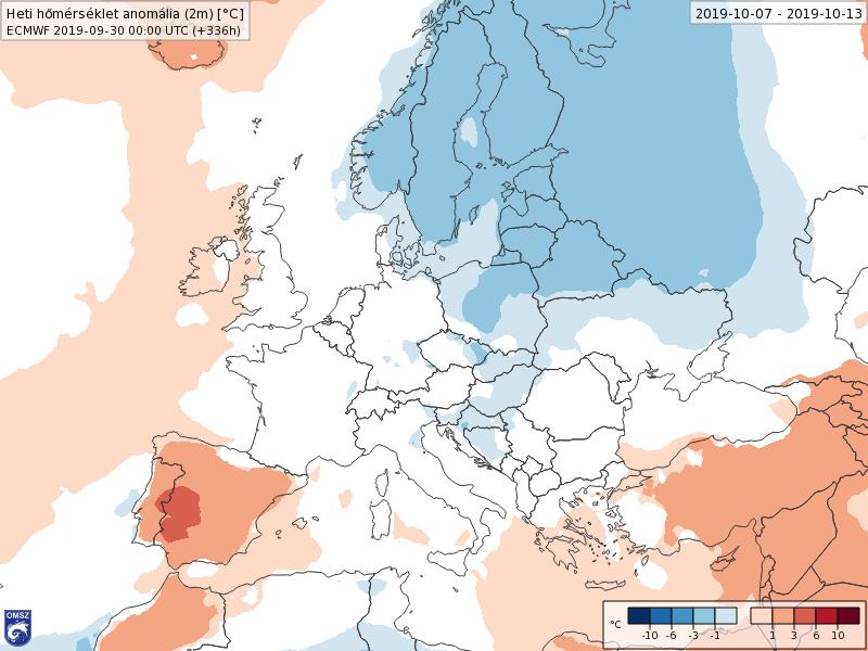 Anomalías Temperaturas Octubre 2 semana ECMWF