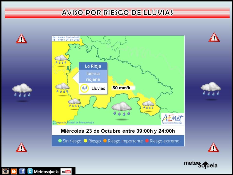 Aviso Amarillo por Lluvias en la Ibérica AEMET. Meteosojuela