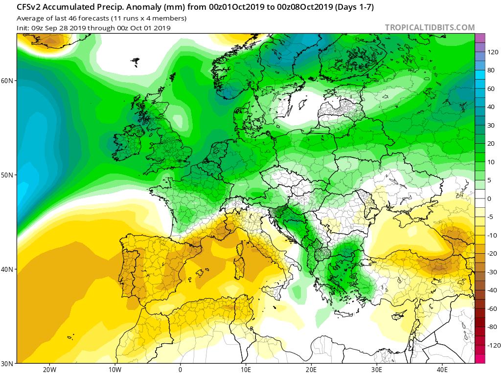 Modelos de precipitaciones semanales Octubre GFS 1S Jose Calvo. Meteosojuela La Rioja.