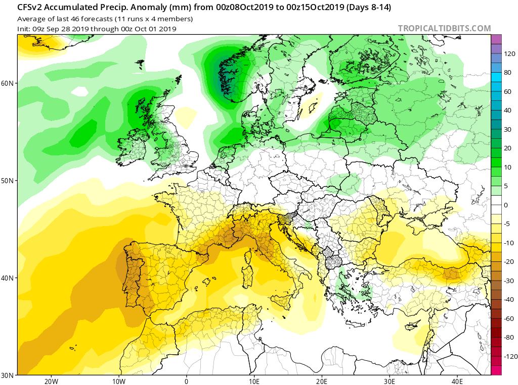 Modelos de precipitaciones semanales Octubre GFS 2S Jose Calvo. Meteosojuela La Rioja.