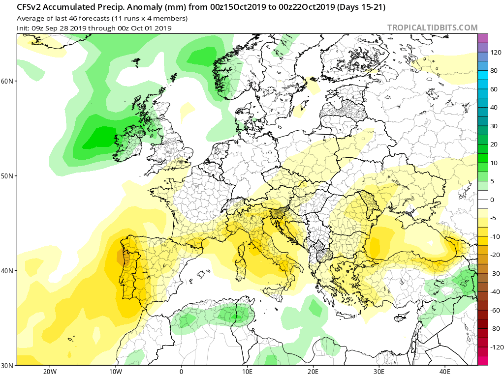 Modelos de precipitaciones semanales Octubre GFS 3S Jose Calvo. Meteosojuela La Rioja.
