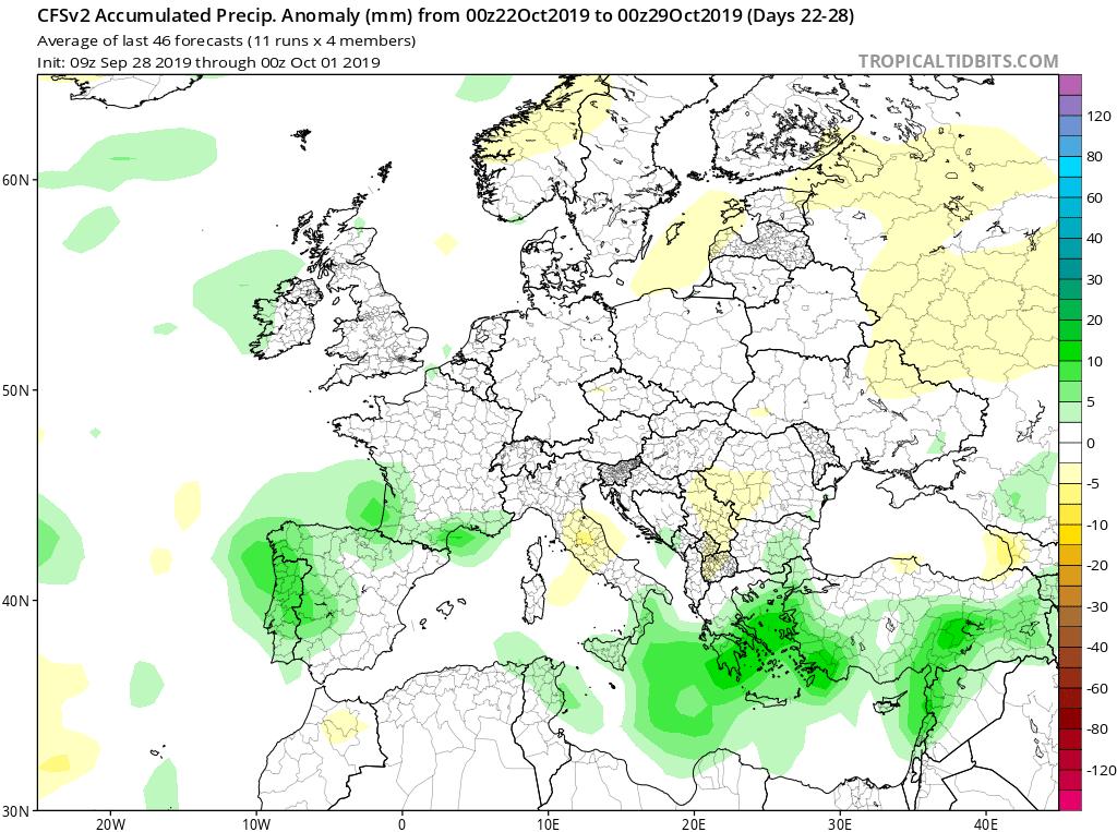 Modelos de precipitaciones semanales Octubre GFS 4S Jose Calvo. Meteosojuela La Rioja.