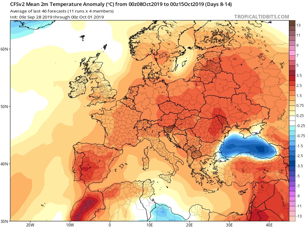 Modelos de temperaturas semanales Octubre GFS 2S Jose Calvo. Meteosojuela La Rioja.
