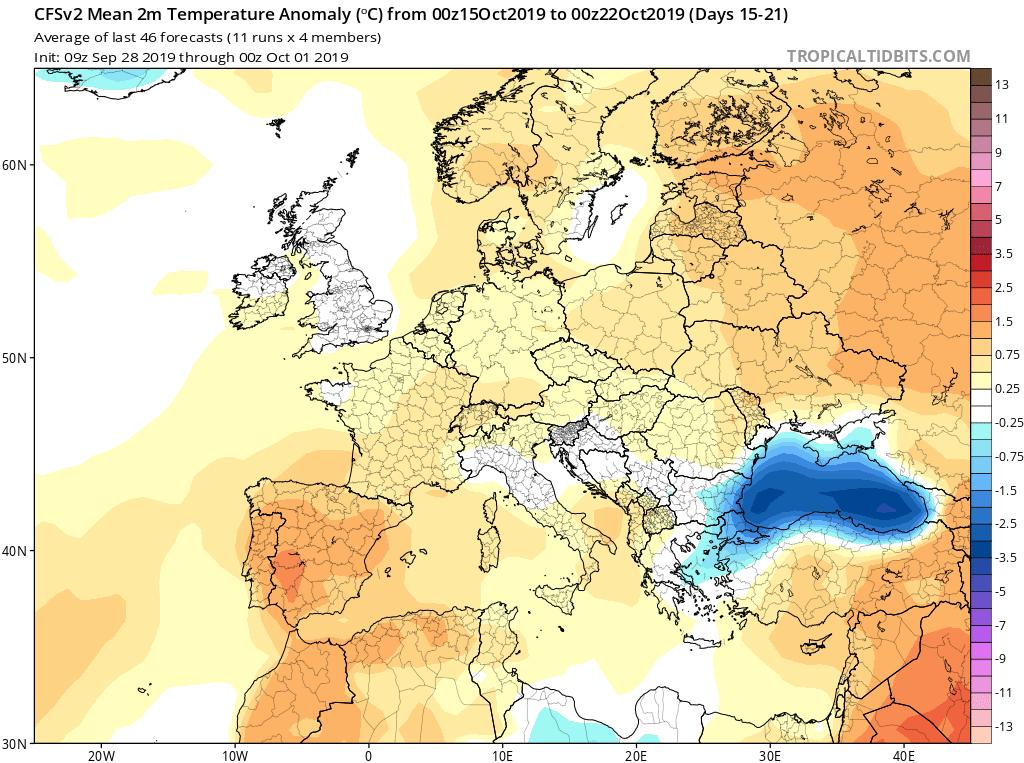 Modelos de temperaturas semanales Octubre GFS 3S Jose Calvo. Meteosojuela La Rioja.