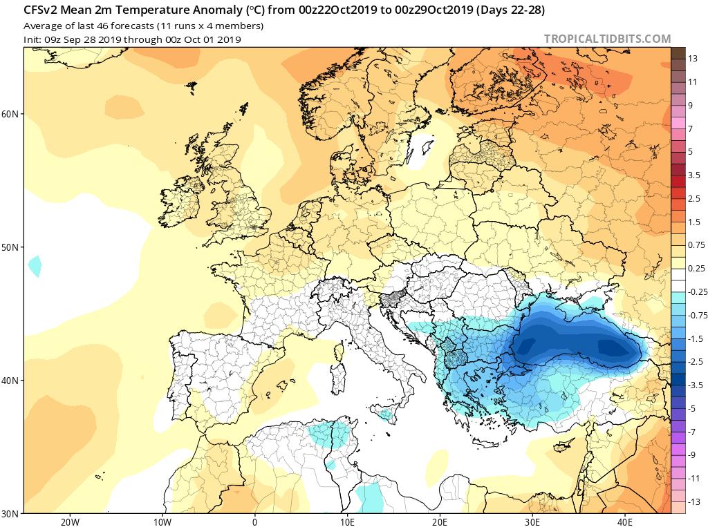 Modelos de temperaturas semanales Octubre GFS 4S Jose Calvo. Meteosojuela La Rioja.
