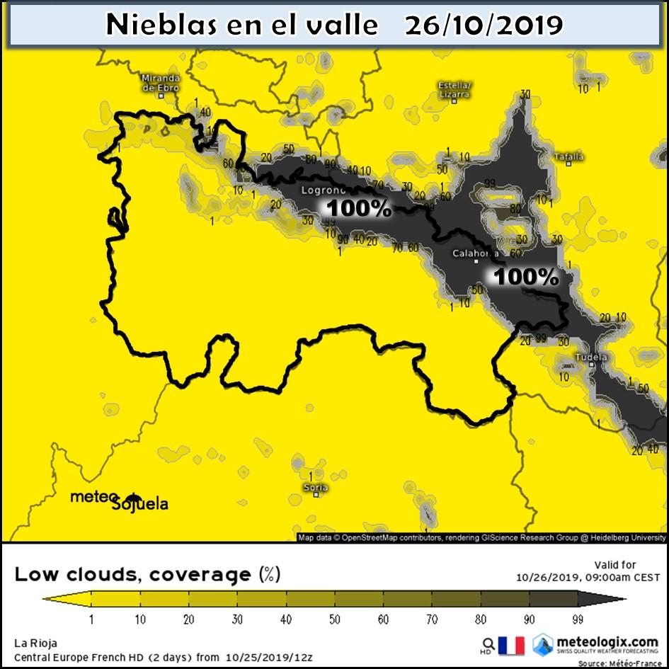 Nieblas en el valle. Modelo AROME. Meteosojuela