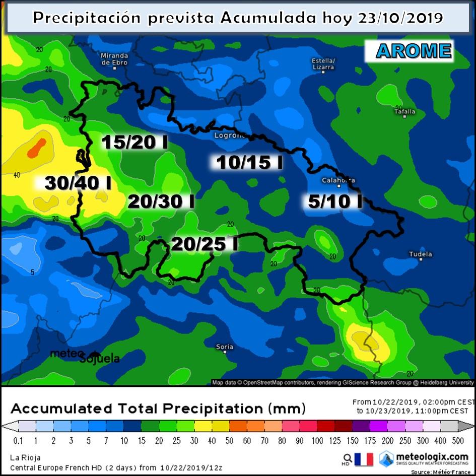 Precipitación acumulada AROME. Meteosojuela