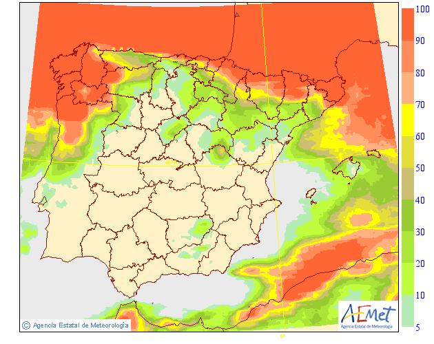Probabilidad de precipitacion según AEMET. 15 Meteosojuela La Rioja