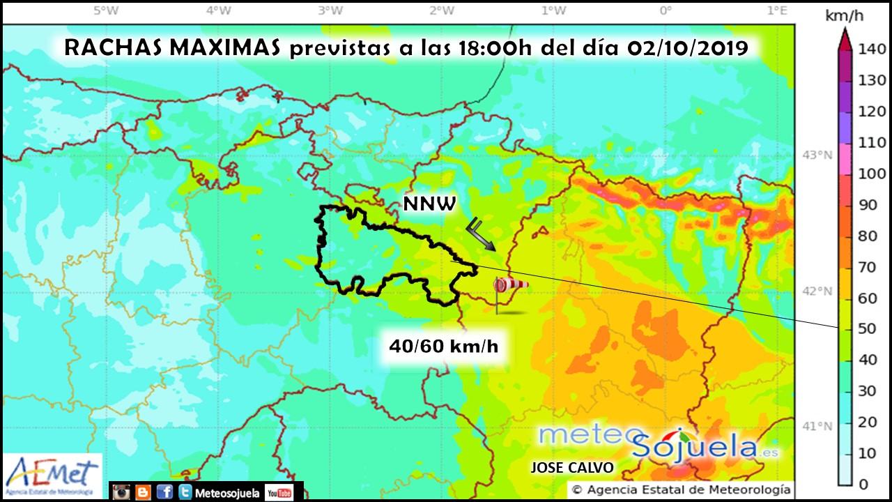 Rachas máximas de viento modelo HARMONIE. Meteosojuela