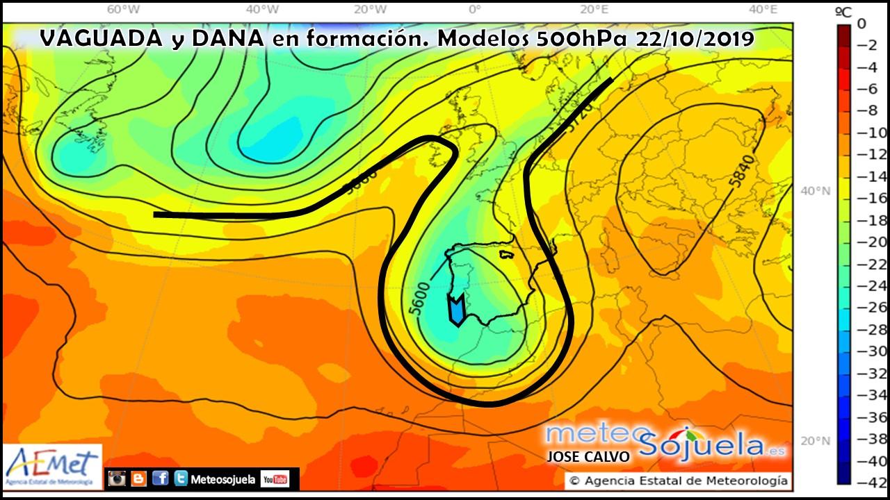 Vaguada y DANA Modelo Harmonie 500hPa. Meteosojuela.es