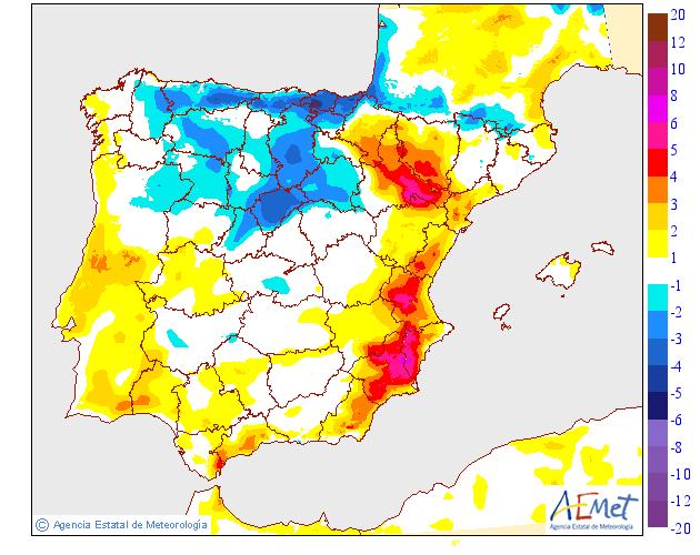 Variación de temperaturas máximas AEMET. 29 Meteosojuela