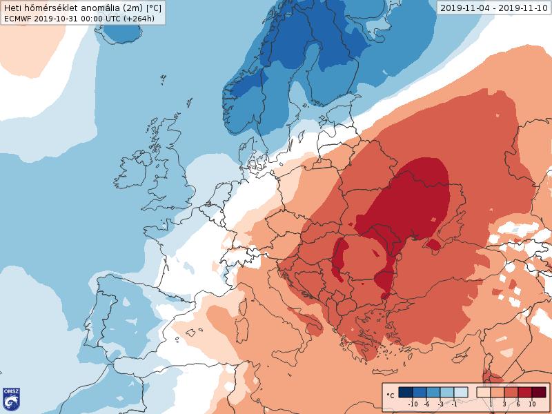 Anomalías Temperaturas Noviembre 1 semana ECMWF