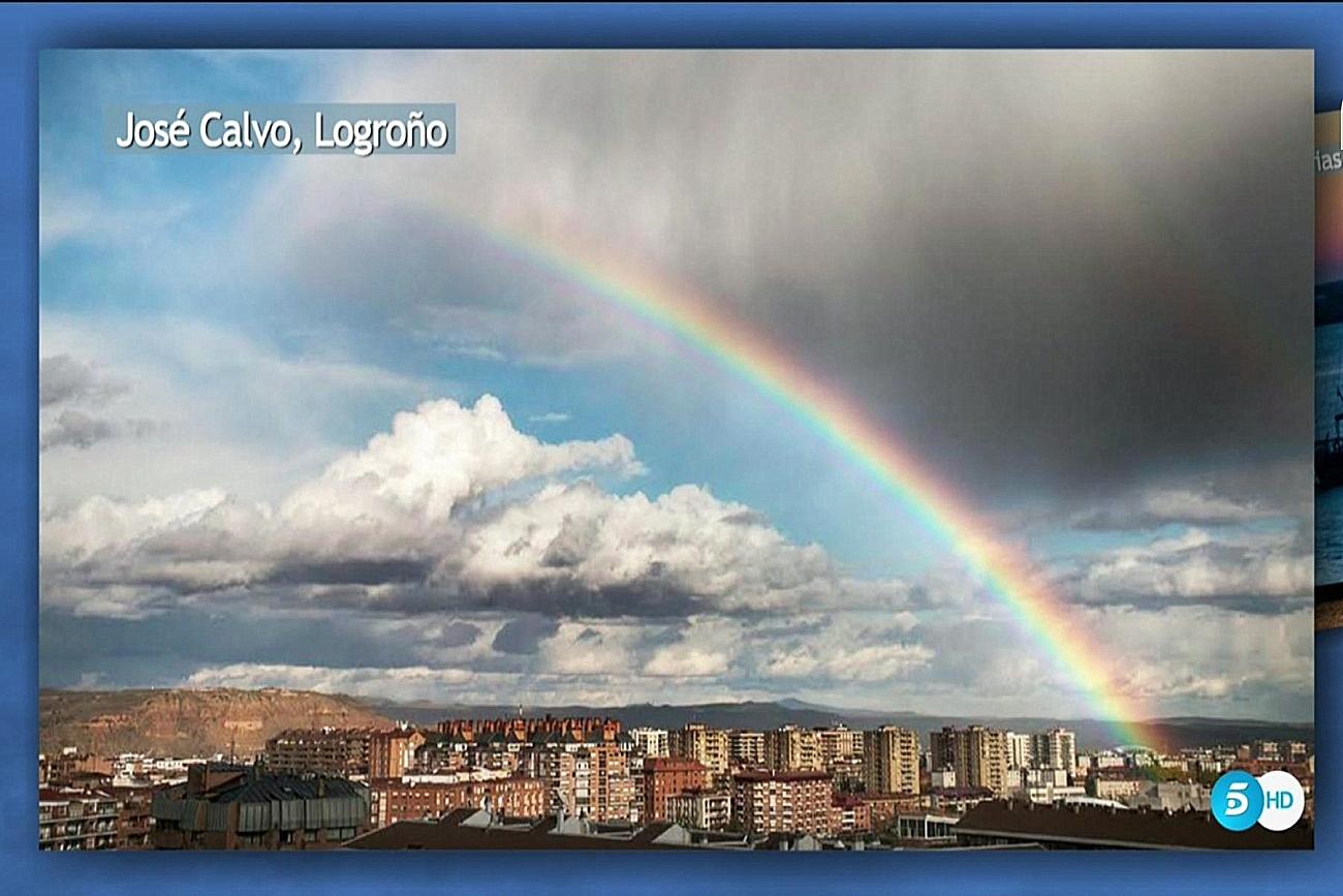 Arco Iris en Logroño. El tiempo de Telecinco. Meteosojuela.