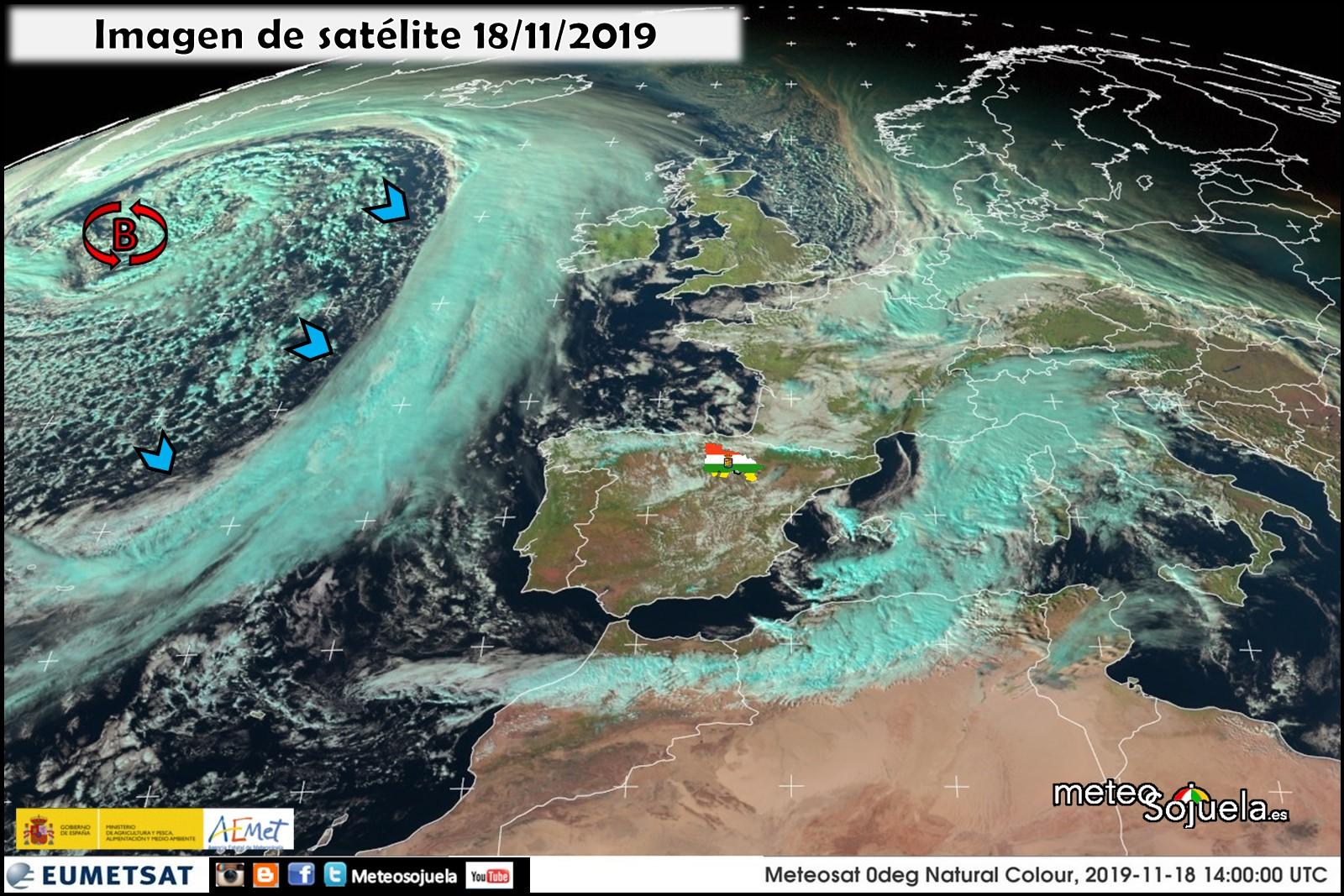 Imágen Sátelite Borrasca y Frente Atlántico
