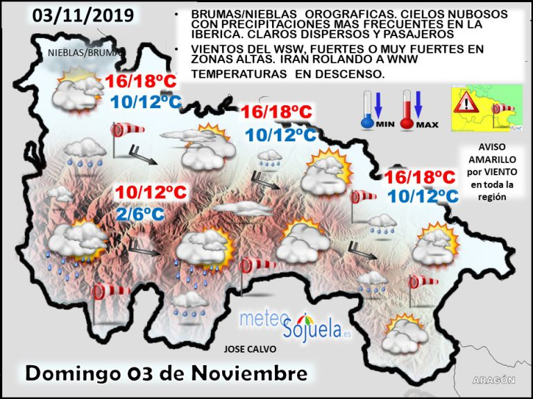 El tiempo de hoy en La Rioja. 03/11/2019. Continuará revuelto y ventoso